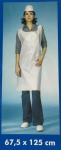 Aprons with LDPE 125 x 67,5 cm - white / 10 pieces