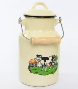 Enamelled milk churn 2 and 4 litre